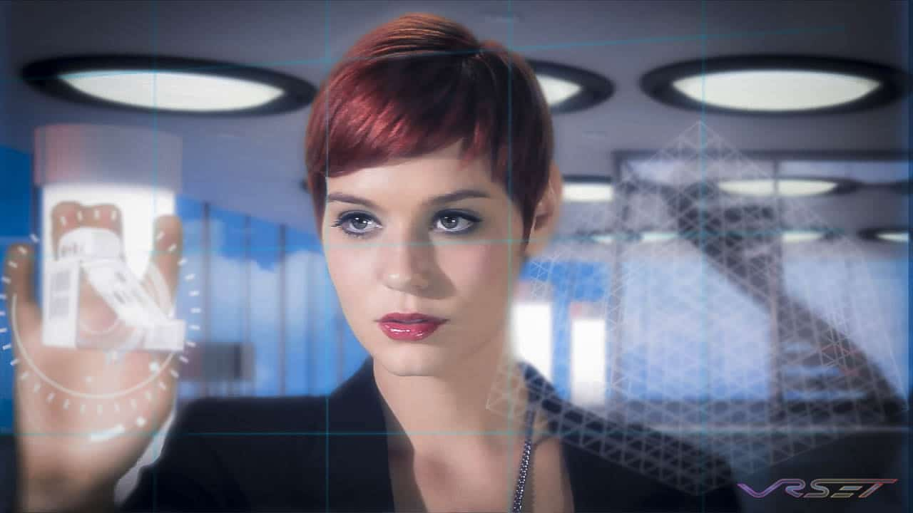 red hair female actor touching virtual screen