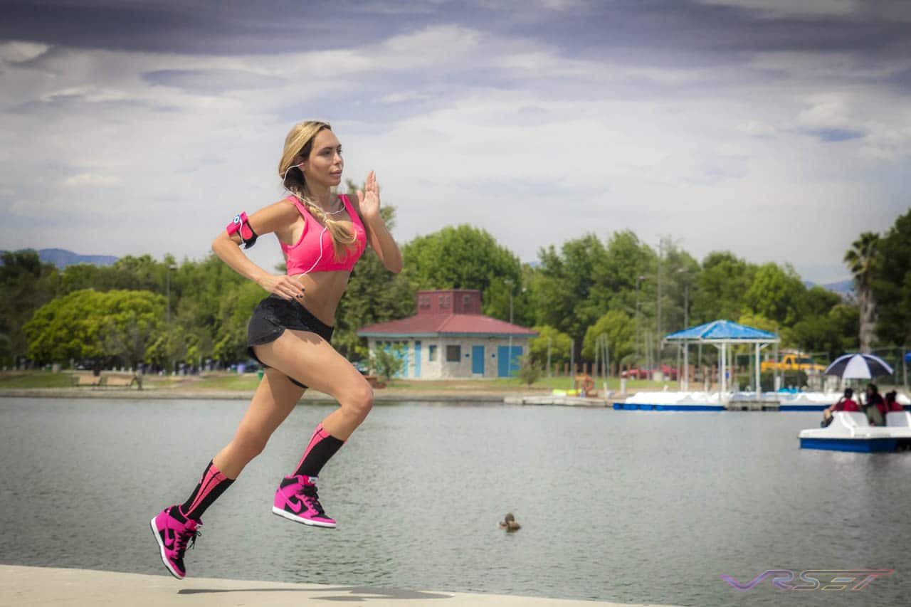 Lorna-Jane-Hot-Pink-Sports-Bra-Blask-Short-Matching-Socks-Model-Running-Lake-OC-LA-Fashion-Photographer