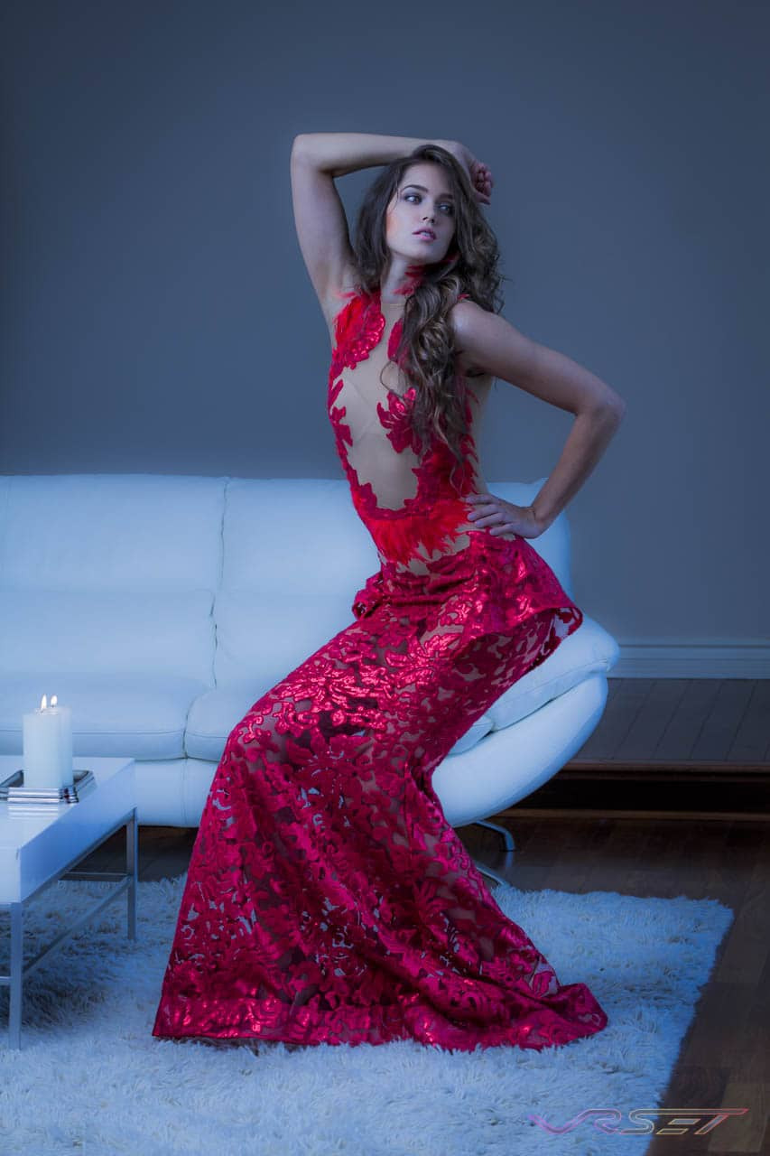 Supermodel Nadya Lavrenova posing in a fancy red dress by LA fashion designer Ani Hovsepyan