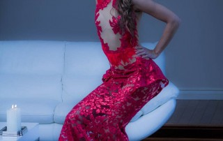 Supermodel Nadya Lavrenova posing in a fancy red dress by LA fashion designer Ani Hovsepyan