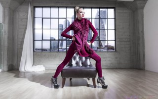 Model Anna Kudryavtseva Miss Russia Finalist Wearing Matching Burgundy Sleeveless Coat and Leggings, Makeup & Styling: LVISAGE, by Top Fashion Photographer Los Angeles & Orange County Video Production David Victory
