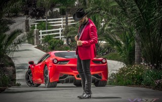 Saul El Jaguar Flew from Mexico for this Fashion Photo Shoot in California, Wearing a Barabas Men Red Jacket, by Top Fashion Photographer Los Angeles & Orange County Video Production David Victory