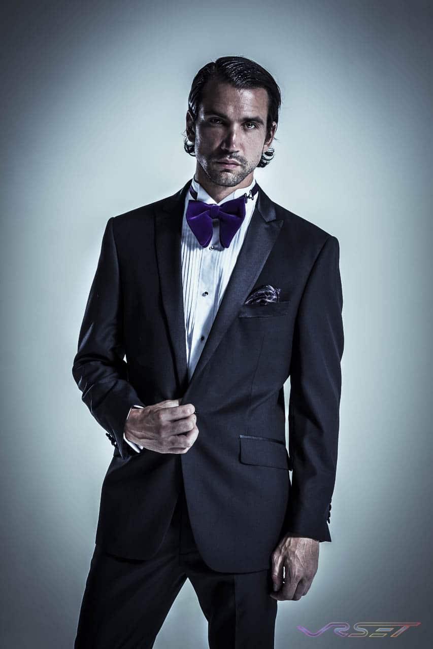 Parisian Model Clement Saoudi wearing a Porto Filo Black Tuxedo, Studio Fashion Photography by Top Fashion Photographer Los Angeles & Orange County Video Production David Victory