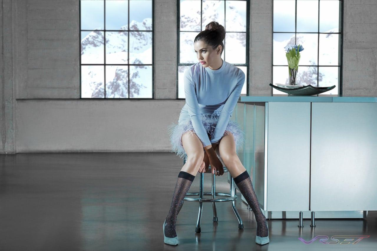 Fashion Model Yesenia Osuna Wearing Aqua Dress With Puffy Skirt For Editorial Studio Fashion Shoot, by Top Fashion Photographer Los Angeles Orange County Video Production David Victory