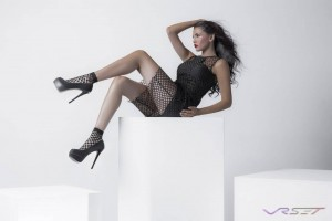 Fashion Model Yesenia Osuna Wearing Black Fishnet Dress with Six Inch Heels, by Top Fashion Photographer Los Angeles Orange County Video Production David Victory