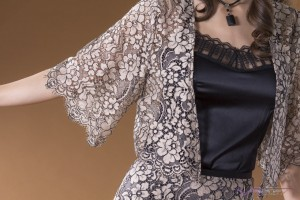 Sally Alexander Designs Apparel Clothing Details brown floral lace sleeve