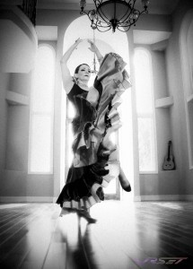 A signature black and white photo for an online video ad features the master flamenco dancer Batista. Model photography in Orange County