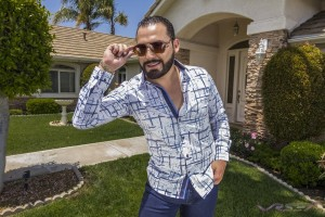 Barabas Men patterned blue and whtie shirt LookBook by Top Fashion Photographer Los Angeles & Orange County Video Production David Victory