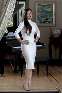 Designer Ionica Moldovianu wearing ESTELLA white dress with silk charmeuse lining, by top fashion photographer Los Angeles & Orange County Video Production David Victory