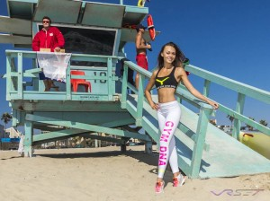 In Venice beach we got permission to shoot at the famous baywatch lifeguard tower with Ukrainian athletic model Alina Shelestyuk striking a fun pose for a new EU sportswear fashion line