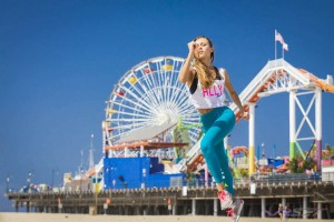 Santa Monica pier as the perfect California backdrop for Ukrainian athletic model Alina Shelestyuk sprinting while I was face in the sand catching the action with the stabalized 24-70 lens for a new EU sportswear fashion line