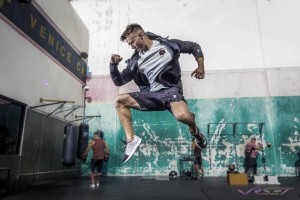 Fitness model Rob Riches jumping at Gold's Gym Venice California, by Top Fashion Photographer Los Angeles Orange County Video Production David Victory