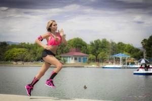 Lorna Jane Hot Pink Sports Bra Blask Short Matching Socks Model Running Lake OC LA Fashion Photographer