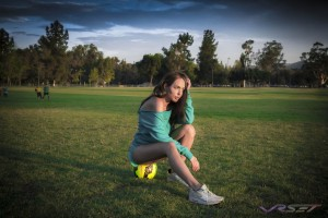 Lorna Jane Turquoise Sports Outfit Soccer Field OC LA Fashion Photographer