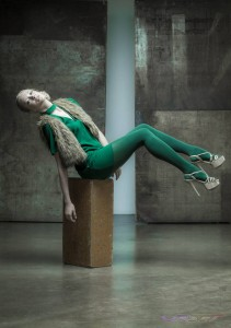 Model Anna Kudryavtseva Miss Russia Finalist Wearing Matching Green Leggings and Dress with Faux Fur Vest, Makeup & Styling: LVISAGE, by Top Fashion Photographer Los Angeles & Orange County Video Production David Victory