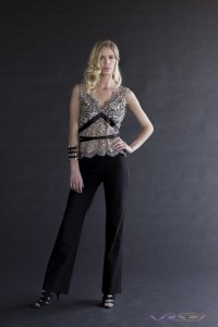 Fashion Model Claudia Sarnowska Wearing Sally Alexander Designs Tan Sleevless Laced Top with Black Pants, by Top Fashion Photographer Los Angeles & Orange County Video Production David Victory