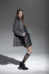 Model Jessica Minter wearing ZARA dark grey plaid jacket with black leather skirt, by Top Fashion Photographer Los Angeles & Orange County Video Production David Victory
