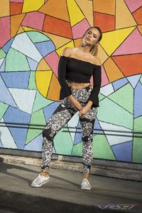 Model Linda Bougheraba, wearing Channeling Babe Black CropTop and Floral Leggings, Look Book Fashion Photography by Top Fashion Photographer Los Angeles & Orange County Video Production David Victory