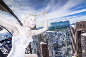 Shooting from a helicopter with model Marissa Centrella high above downtown wearing Shymay Steel Boned Corset Waist Cincher Brocade Top Los Angeles ecommerce Fashion Photographer David Victory Behind The Scenes