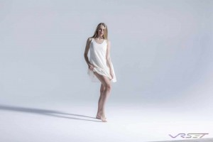 Model Olga Samsonova Wearing Light Tan Lace Sleeveless Short Dress at E-commerce Studio, Top Fashion Photographer Los Angeles & Orange County Video Production David Victory