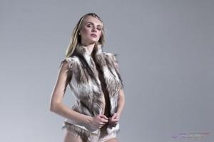 Model Olga Samsonova Wearing Tan & White Faux Fur Vest at E-commerce Studio, Top Fashion Photographer Los Angeles & Orange County Video Production David Victory