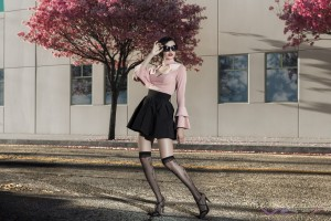 Fashion Model Yesenia Osuna Wearing Peach Open Front Collared Top With Flaired Cuffs and Black Skirt with Knee High Silk Stockings, by Top Fashion Photographer Los Angeles Orange County Video Production David Victory
