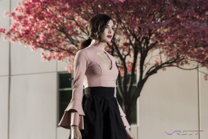 Peach collared top with open front and flaired cuffs LookBook by Top Fashion Photographer Los Angeles & Orange County Video Production David Victory