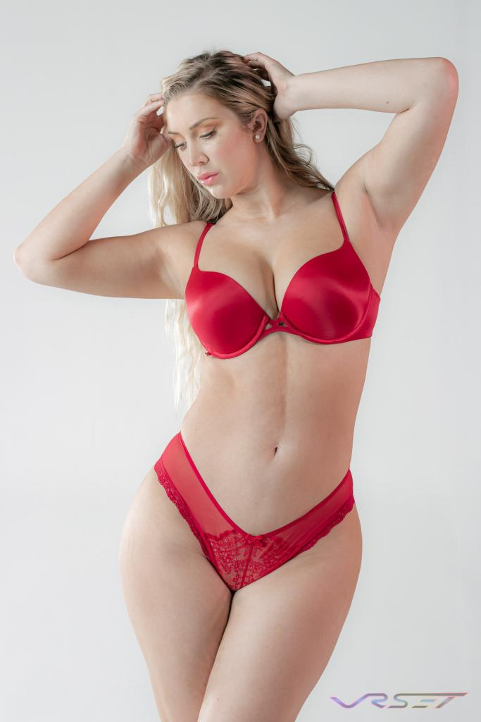 Plus Size Model Red Bra Lace Panty Lingerie ecommerce Fashion Photographer Los Angeles David Victory VRset