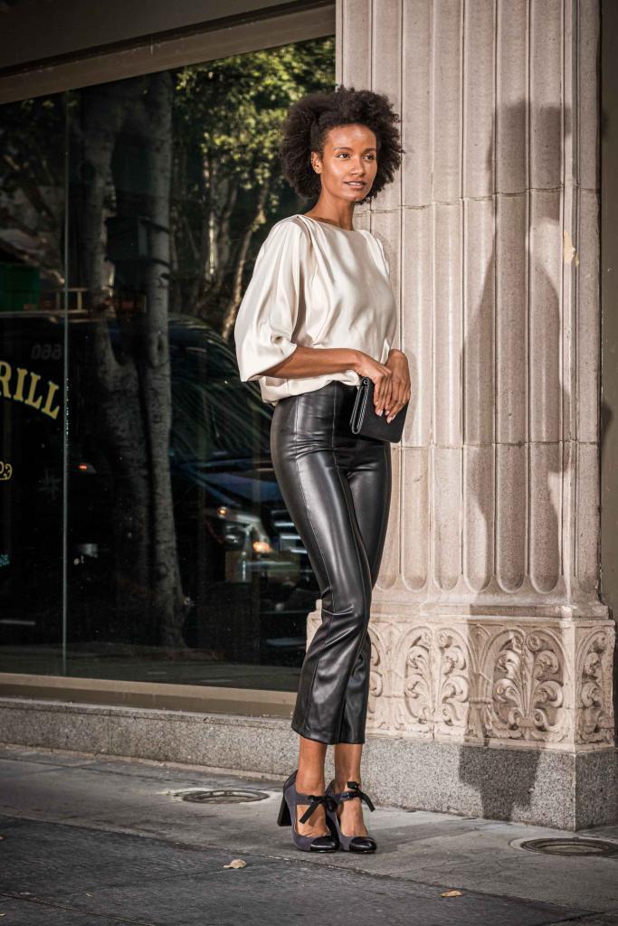 Rachel Zeppa Black Leather Pants Creme Silk Top Lookbook Fashion Photographer Los Angeles David Victory VRset