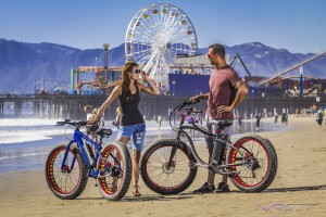 Advertising campaign product photography in Santa Monica Beach Los Angeles for Silicon brand electric bicycles.