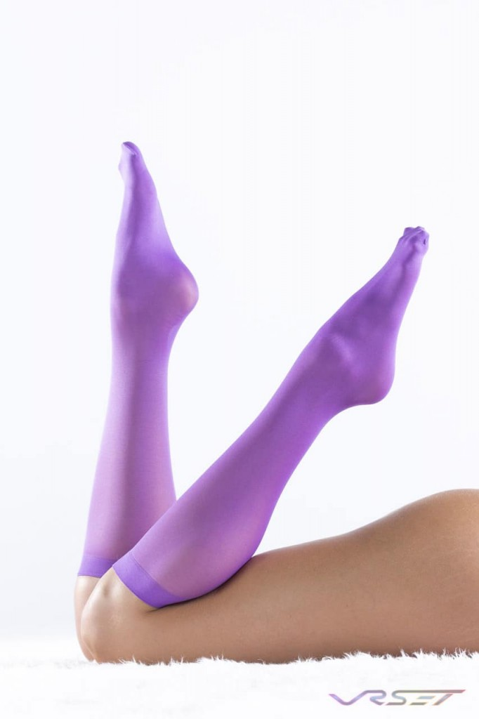 Sockbin NY purple knee high silk stockings how to shoot for Amazon FBA Shopify Ecommerce by Top Fashion Photographer Los Angeles & Orange County Video Production David Victory