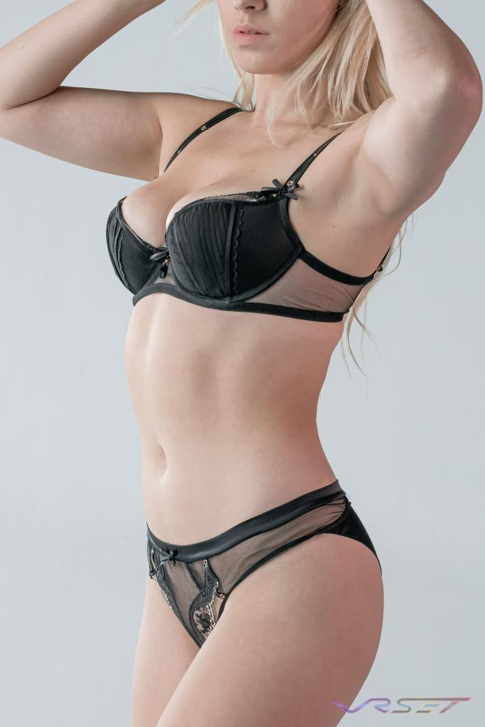 Studio Model Black Mesh Bra Panty Lingerie ecommerce Fashion Photographer Los Angeles David Victory VRset