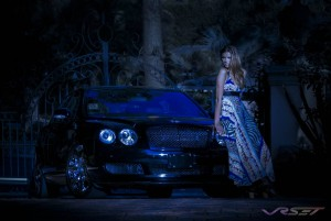 Advertising photographer in Orange County. The crew was bringing the 4 door saloon jet-black Bentley Continental Flying Spur through the gate and it took one look for me to shoot it right in front of the gate as a day for night shot for a print ad