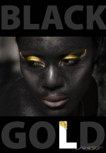For the black gold makeup campaign shot I decided on an extreme case of contrast, and after a lot of post processing the look was perfect. The unfamiliar feminine rough skin blasting out the glitter of the gold makeup in this shot. Advertising photographer in Orange County