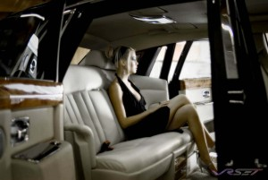 The ultimate backseat ride in the Rolls Royce Phantom saloon car photo was made a bit better by leaving both doors open for added sense of scale and luxury not to mention the soft light hitting the model. Advertising photographer in Los Angeles
