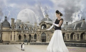 This fantasy portfolio photograph of the female model wearing a long black and white formal dress in front of a European castle was inspired by the little penguin. Model photographer in L.A.