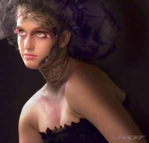 Female model wearing air brushed makeup which was appllied through lace. Model portfolio photography in L.A.