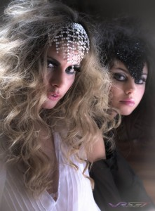 Can you decide? both models are wearing shiny beaded headpieces while the camera favors the blonde the brunette gets equal adoration in this photo. Model photographer in Orange County