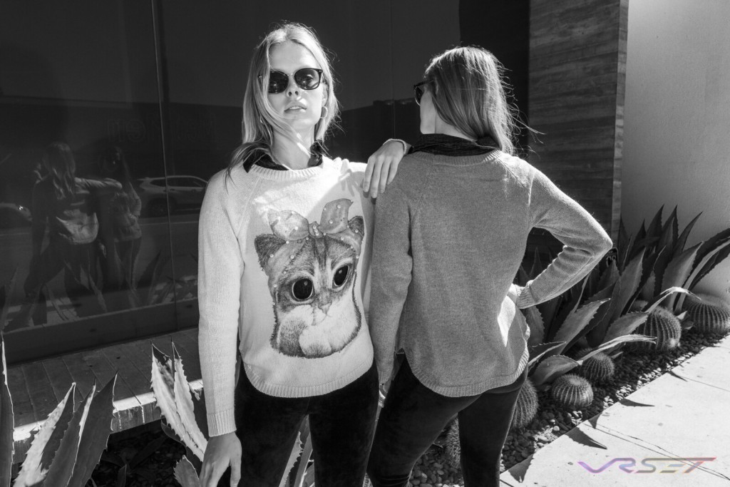 Lookbook Cat Print Knitted Sweater Two Female Models Black And White Top Fashion Photographer Los Angeles Orange County Video Production David Victory