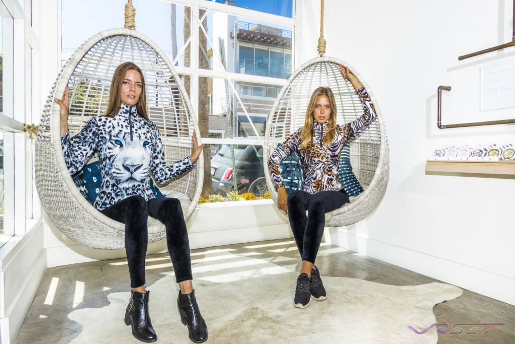 Two Female Models Hanging Egg Chairs Animal Print Tops Top Fashion Photographer Los Angeles Orange County Video Production David Victory