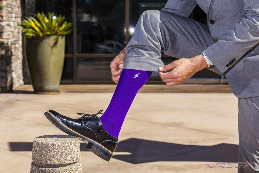 Mens Purple Dress Socks Closeup Lookbook Top Fashion Photographer Los Angeles Orange County Video Production David Victory