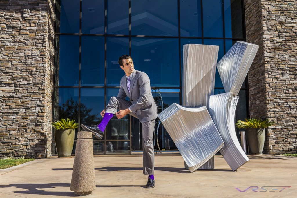 Mens Purple Dress Socks Lookbook Top Fashion Photographer Los Angeles Orange County Video Production David Victory