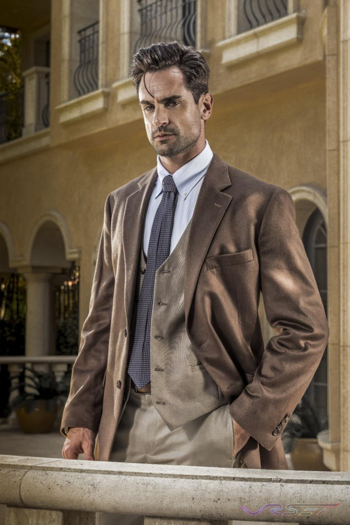 Model Antonio Lujak Designer Andrew Williams Brown Jacket Khaki Vest Dotted Creased Tie Lifestyle Top Fashion Photographer Los Angeles Orange County Video Production David Victory