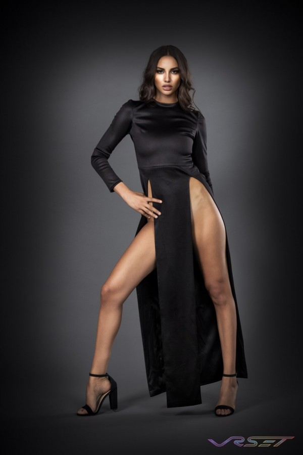 Model Dominique Muscianese Haute Couture Black Open Slit Evening Dress Studio Fashion Photographer Los Angeles Orange County Video Production David Victory