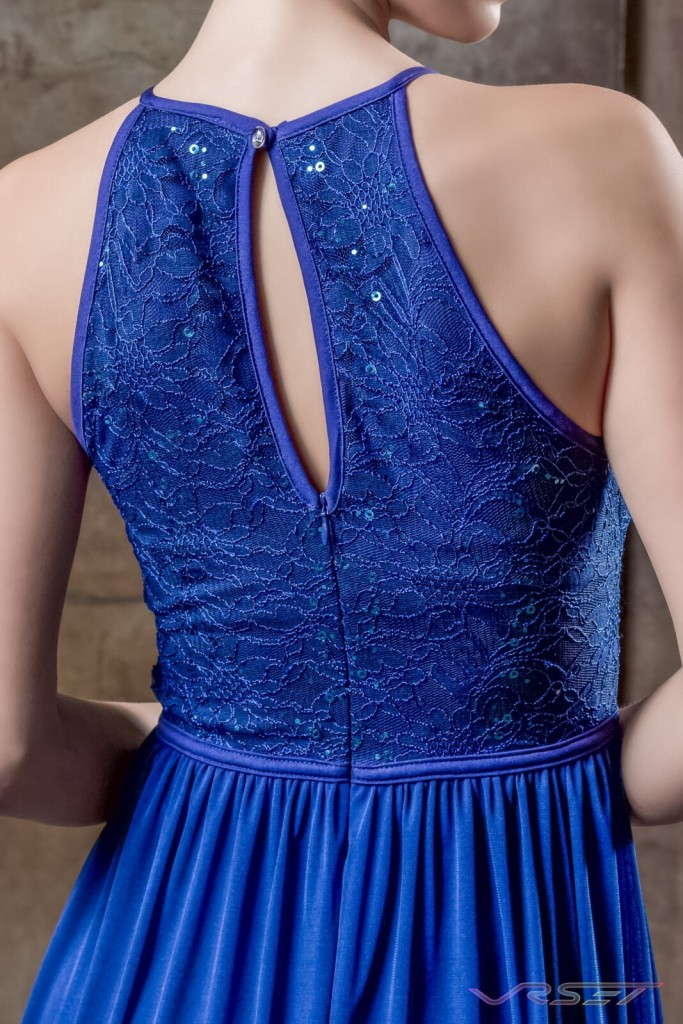 Detail Blue Sequin Top Draped Evening Dress Designer Bonnie Kim Zoe Couture Studio Catalog Fashion Photography LA