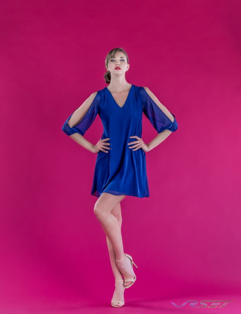 Model Anna Vasiltsova Blue Slit Sleeve Mini Chiffon Dress Designer Bonnie Kim Zoe Couture Studio Catalog Fashion Photography