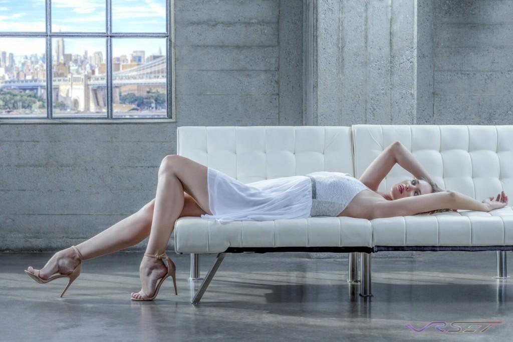 Model Anna Vasiltsova White Lace Top Chiffon Skirt Designer Bonnie Kim Zoe Couture Studio Catalog Fashion Photography NY