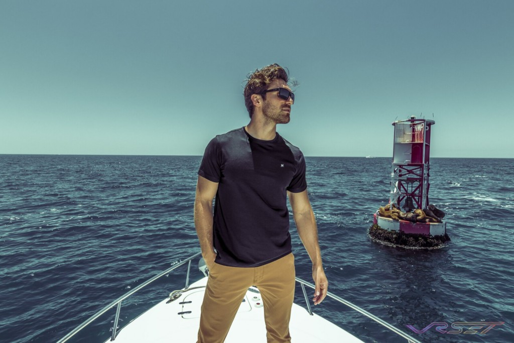 Model Gamzat Lu Black Fitted Supima Tshirt Lifestyle Fashion Photography Johnwin Menswear Brand Onboard Yacht Pacific Ocean Metal Buoy
