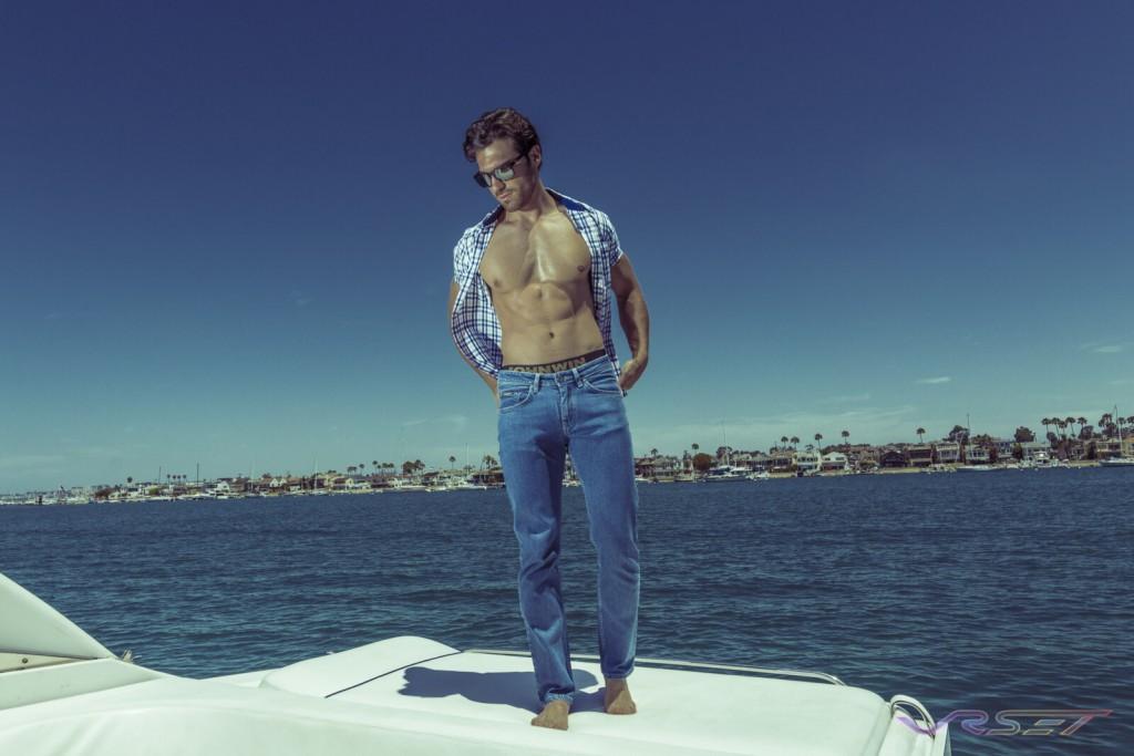 Model Gamzat Lu Blue Plaid Shirt Fitted Jeans Lifestyle Fashion Photography Johnwin Menswear Brand Onboard Yacht OC Coast