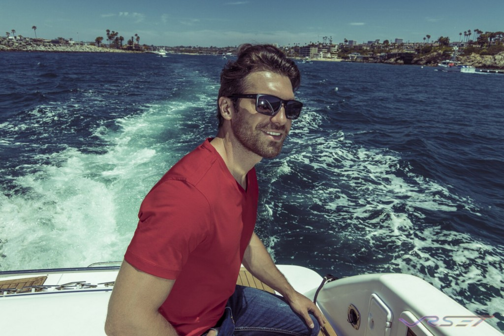 Model Gamzat Lu Red Fitted Supima Tshirt Lifestyle Fashion Photography Johnwin Menswear Brand Onboard Yacht OC Coast